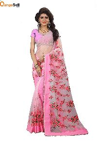 Pink Net Saree