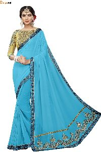 Sky Blue Georgette Saree
