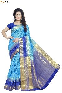 Sky Blue Jacquard Saree