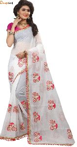 White Cotton Silk Saree