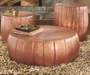 Copper Hammered Aluminium Drum Coffee Table Set