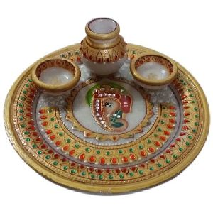Fancy Marble Pooja Thali