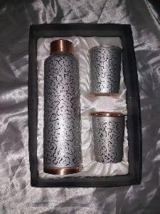 Stainless Steel Copper Bottle & Glass Set