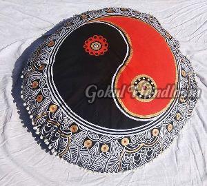 Black & Orange Mandala Cushion Cover