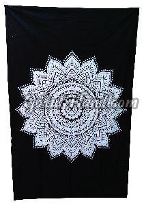 Black White Mandala Cotton Wall Hanging Tapestry