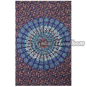 Blue Peacock Mandala Cotton Wall Hanging Tapestry