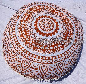 Brown & White Mandala Cushion Cover
