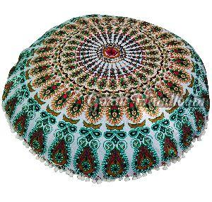 Brown Mirchi Mandala Cushion Cover