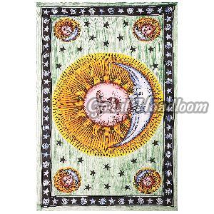 Celestial Indian Sun Cotton Wall Hanging Tapestry