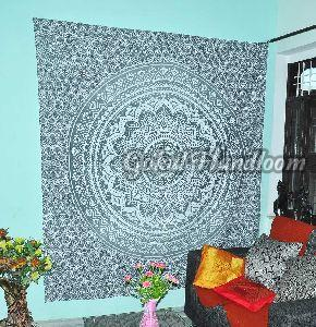 Gray Ombre Mandala Cotton Wall Hanging Tapestry