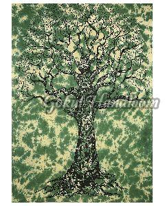 Green Tree of Life Cotton Wall Hanging Tapestry