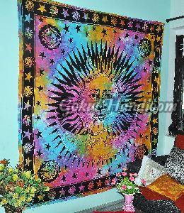 Indian Burning Sun Moon Cotton Wall Hanging Tapestry