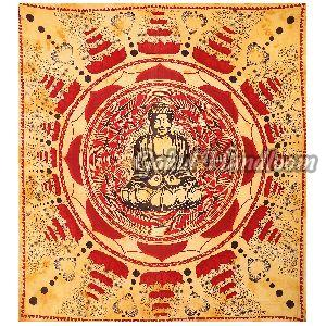 Lotus Brown Cotton Wall Hanging Tapestry