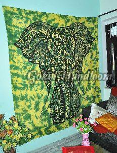 Multi Color Elephant Cotton Wall Hanging Tapestry