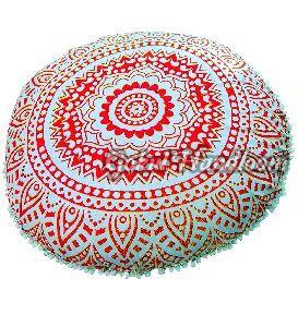 Orange Golden Ombre Mandala Cushion Cover