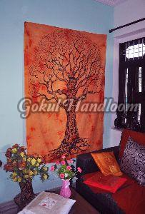 Orange Tie Dye Cotton Wall Hanging Tapestry
