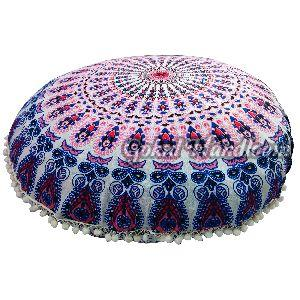 Pink Blue Mirchi Mandala Cushion Cover