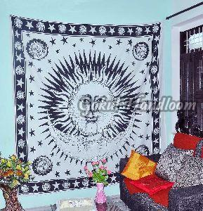 Black Burning Sun Cotton Wall Hanging Tapestry