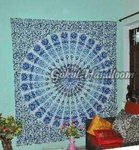 Turquoise Blue Cotton Wall Hanging Tapestry