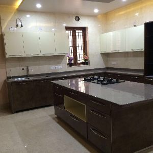 Glass Finish Modular Kitchen