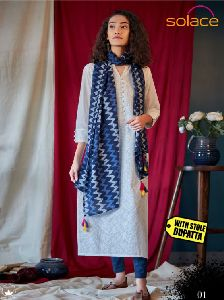 Ladies Schiffli Kurti With Dupatta