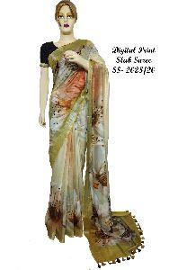 Digital Print Linen Slub Sarees