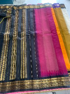 Handloom Cotton Gadwal Saree Without Blouse