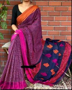 Handloom Khadi Kantha Work Saree With Blouse
