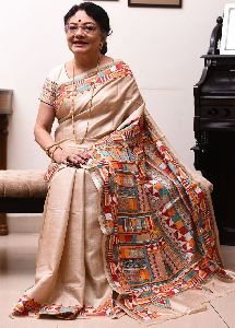 Pure Gachi Tussar Silk Saree with Santiniketan Kantha