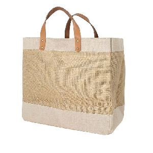 Leather Handle Juco Canvas Tote Jute Bag