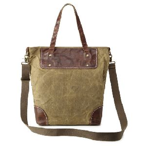 Vintage Look Canvas Shoulder Tote Bag