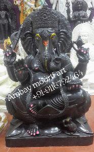 Black Ganesh Marble Statue